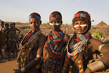 People of the Hamer tribe, the woman's hair treated with ochre, water and resin and twisted into tresses known as goscha, Lower Omo Valley, southern Ethiopia, Ethiopia, Africa
