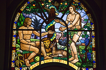 Stained glass window depicting Adam and Eve in the Garden of Eden, Holy Trinity Cathedral, the largest Orthodox church in the country, built between 1935 and 1942, Addis Ababa, Ethiopia, Africa