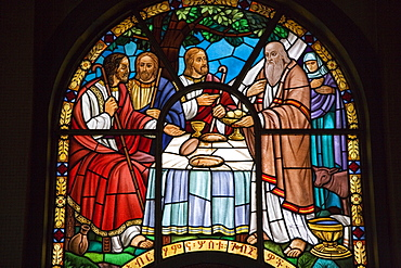 Stained glass window in Holy Trinity Cathedral, the largest Orthodox church in the country, built between 1935 and 1942, Addis Ababa, Ethiopia, Africa