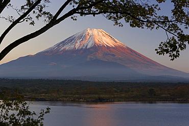 Lake Shoji-ko and Mount Fuji in evening light, Fuji-Hakone-Izu National Park, Honshu, Japan, Asia