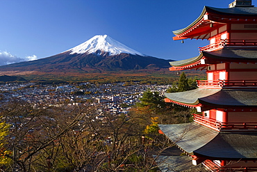 Mount Fuji capped in snow and the upper levels of a temple, Fuji-Hakone-Izu National Park, Chubu, Central Honshu, Japan, Asia