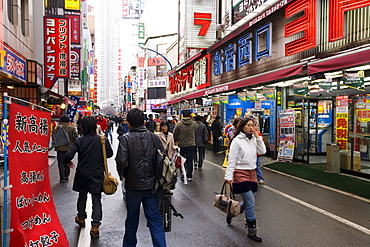 Camera and electronics shops near Shinjuku station, Shinjuku, Tokyo, Honshu, Japan, Asia