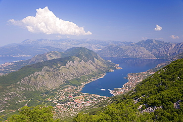 Elevated view of the Fjord, town of Kotor and surrounding mountains, Bay of Kotor, Adriatic coast, Montenegro, Balkans, Europe
