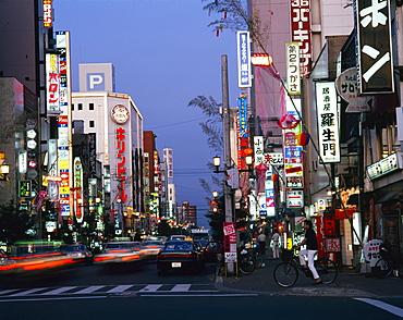 Neon lights at dusk, Asahikawa, Hokkaido, Japan, Asia