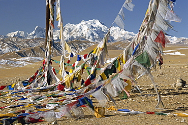 Mount Shishaoangma, 8038m, and colourful prayer flags in Tibet, China, Asia