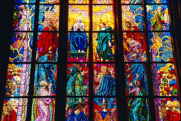 Stained glass window, St. Vitus Cathedral, Prague, Czech Republic, Europe