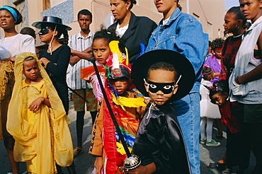 Children in costume and with masks, Mardi Gras festival, Cape Verde Islands, Africa