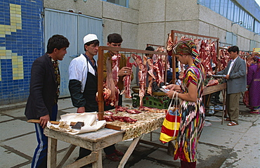 Meat stalls in the bazaar, Bukhara, Uzbekistan, Central Asia, Asia