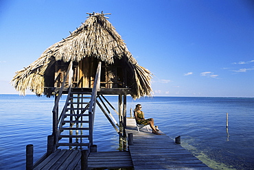Tourist hut for rent, Ambergris Cay, Belize, Central America