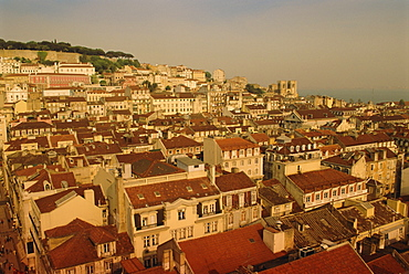 High view of the city center, Lisbon, Portugal, Europe
