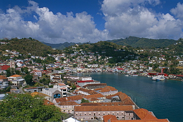 View of the capital from the old fort, Georgetown, Grenada, Caribbean, West Indies, Central America