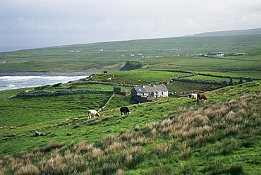 View towards Doolin over countryside, County Clare, Munster, Eire (Republic of Ireland), Europe