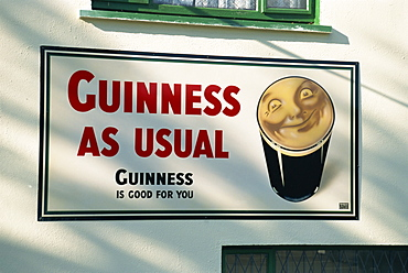 Guinness As Usual, Guinness Is Good For You pub sign, Dublin, County Dublin, Republic of Ireland, Europe