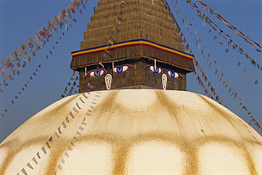 The largest stupa in Nepal, at Bodhnath, UNESCO World Heritage Site, Kathmandu, Nepal, Asia