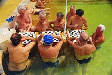 Men playing chess, Municipal Szechenyi Baths, Budapest, Hungary, Europe