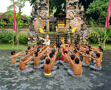 Performance of the famous Balinese Kecak Dance, Bali, Indonesia