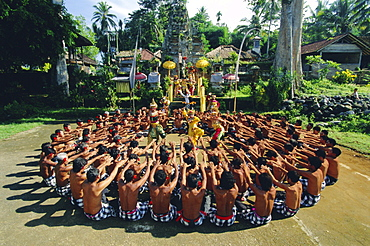 Performance of the famous Balinese 'Kecak' dance, Bali, Indonesia