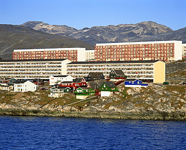 Houses and apartment buildings on the shore at Nuuk, Godthab, capital city of Greenland, Polar Regions