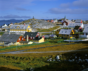 Our Saviour's church and Jonathon Petersen memorial, Nuuk (Godthab), Greenland, Polar Regions