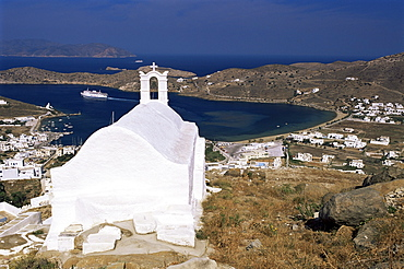 Church above Ormos, the port, island of Ios, Cyclades, Greece, Europe
