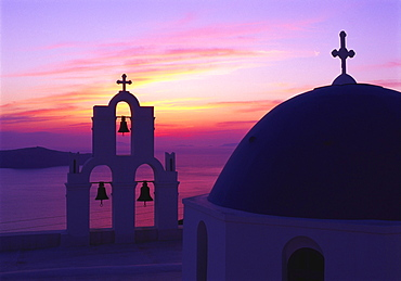 Church and Bell Tower at Sunset, Santorini, Cyclades, Greece