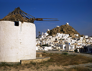 Old windmill and the main town of Hora, Ios, Cyclades, Greek Islands, Greece, Europe - 252-7675