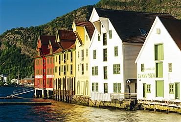 Restored harbourfront wooden warehouses, Bergen, Norway, Scandinavia, Europe