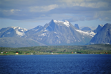 The Lofoten Islands viewed from the sea, Nordland, Norway, Scandinavia, Europe