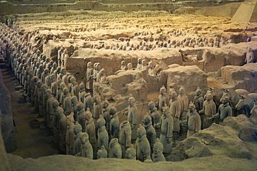 Terracotta warriors in the tomb of Chin Shih Huang Ti, Xian, China, Asia