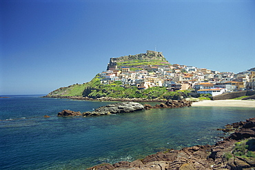 Rocky coast and the houses and fort of Castelsardo on the island of Sardinia, Italy, Mediterranean, Europe