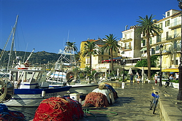 Fishing nets early morning, Quai Landry, Calvi, Corsica, France, Mediterranean, Europe