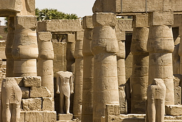 Great Court of Ramses II, Luxor Temple, Luxor, Thebes, UNESCO World Heritage Site, Egypt, North Africa, Africa