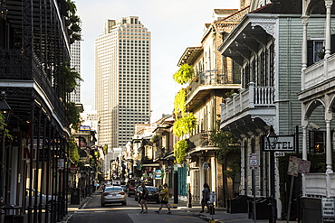 Bourbon Street in French Quarter of New Orleans, Louisiana, United States of America, North America