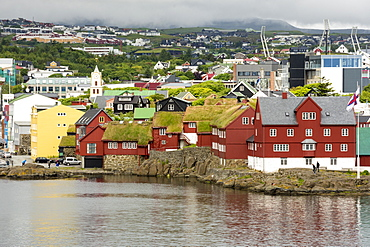 Tinganes, the old town in Torshaven, Faroe Islands, Denmark, Europe