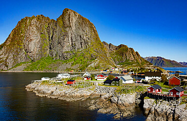 Fishing village on strandflat of Hamnoy, Reinefjorden Islands, Lofoten, Scandinavia, Norway, Europe
