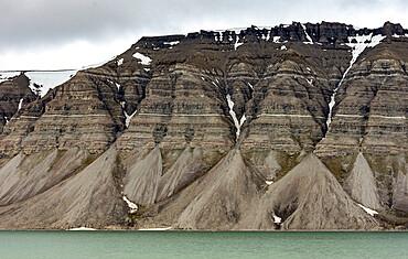 Large alluvial fans along wall of Tempelfjorden, Spitsbergen, Svalbard, Arctic, Norway, Europe - 29-5565
