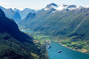 Oldedalen seen from top of Loenskylift, Nordfjord, Olden, Norway, Scandinavia, Europe - 29-5571