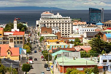 View down Avenida Independencia to Magellan Strait, Punta Arenas, Chile, South America