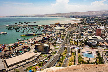 Port and downtown seen from the top of El Morro de Arica, Arica, Chile, South America - 29-5601