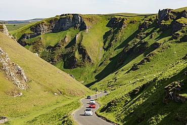 Winnats Pass, limestone gorge at Castleton, Peak District National Park, Derbyshire, England, United Kingdom, Europe - 29-5607