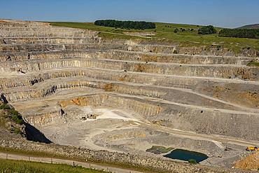 Hope Cement Works limestone quarry, Peak District National Park, Castleton, Derbyshire, England, United Kingdom, Europe - 29-5611