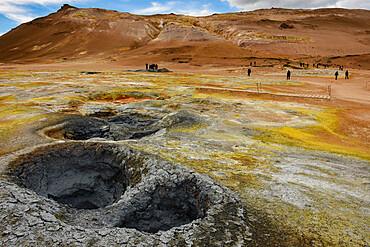Solfataras and bloiling mud pools, Namafjall, Krafla geothermal area, near Myvatn, N E Iceland