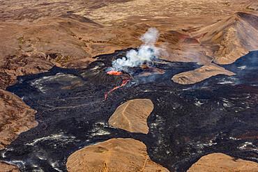 Fagradalsfjall volcano, Reykjanes Peninsula, Iceland, eruption in July 2021