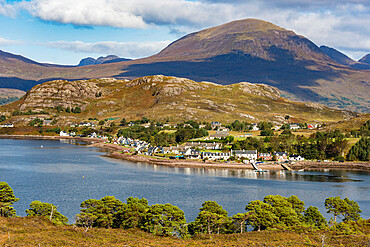 Shieldag village on the shor of Loch Torridon, N W Highlands of Scotland