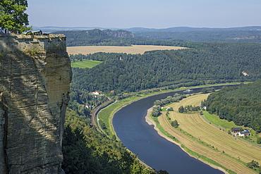 River Elbe from Schloss Konigstein, Saxony, Germany, Europe