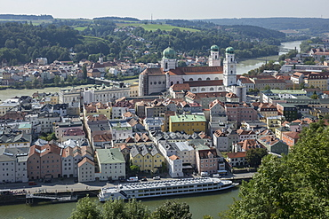 Aerial view of Passau, with River Danube in foreground and River Inn in the distance, Lower Bavaria, Germany, Europe