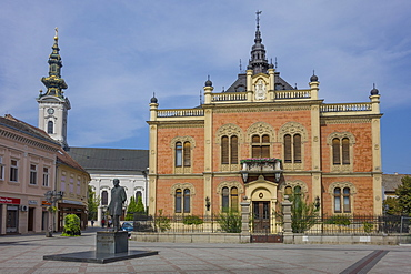 Bishop's Palace, Zmaj statue and Orthodox Cathedral, Novi Sad, Vojvodina, Serbia, Europe