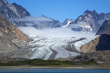 Glacier and peaks, Prince Christian Sound, southern Greenland, Polar Regions