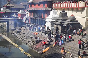 Cremation ceremony on banks of Bagmati River at Shivaratri festival, Pashupatinath Temple, Kathmandu, Nepal, Asia