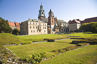 Remains of ancient ruins in front of Wawel Cathedral, Krakow, Poland, Europe
